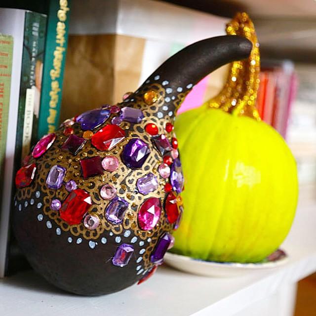 Splendor in the bookshelves gourds pumpkins rhinestones sparkletooth