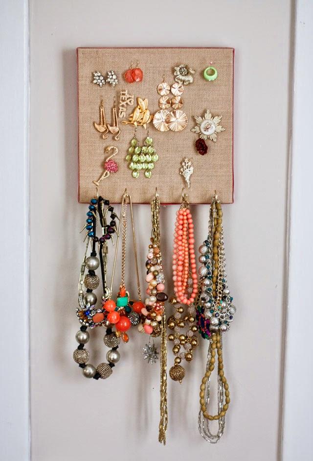 Burlap Canvas Jewelry Organizer Aunt Peaches