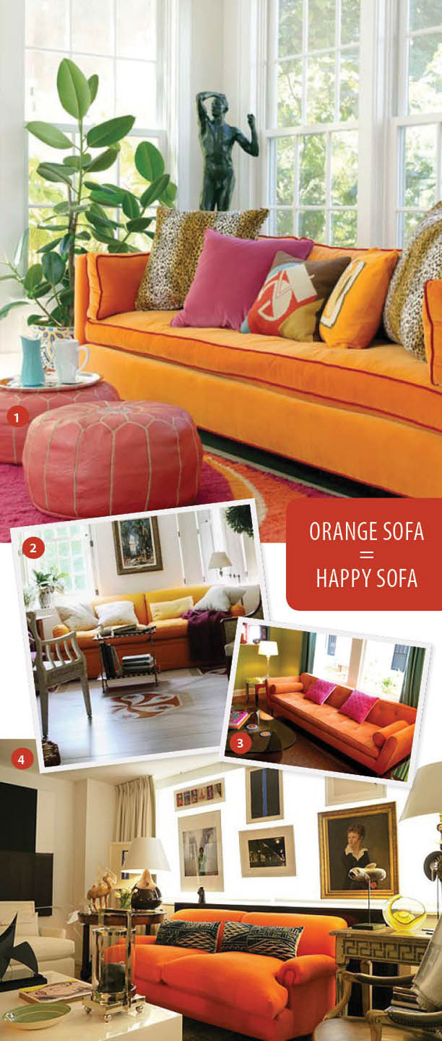 Orange Couch Living Room Orange Sofa And Now Its Coming Aunt Peaches