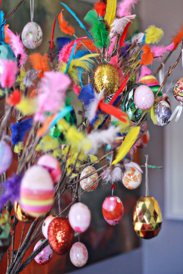 Easter DecorationsAKA Lets Put Feathers Where They Do Not