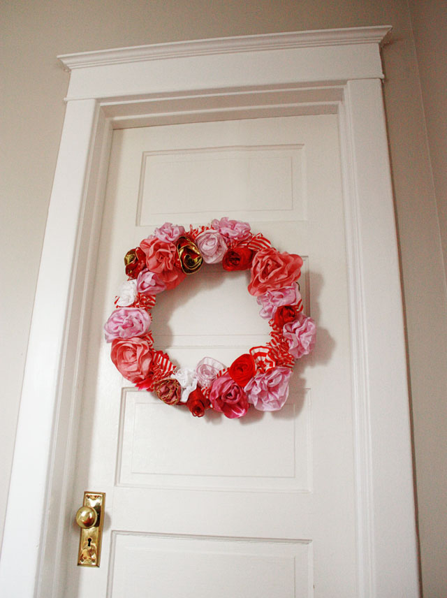valentine ribbon rose wreath