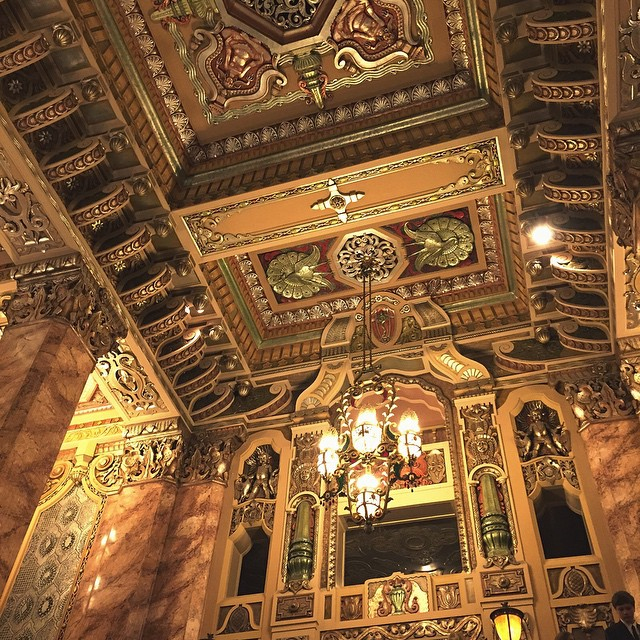 And I thought my chandelier was snazzy. Sheesh! Now at the #orientaltheater seeing #Newsies the musical; cute guys, tap dancing, Socialist overtones worthy of a Fox News special report. Love it!