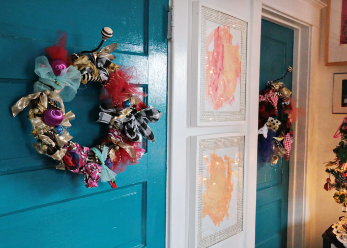 Rag-wreaths-on-blue-doors