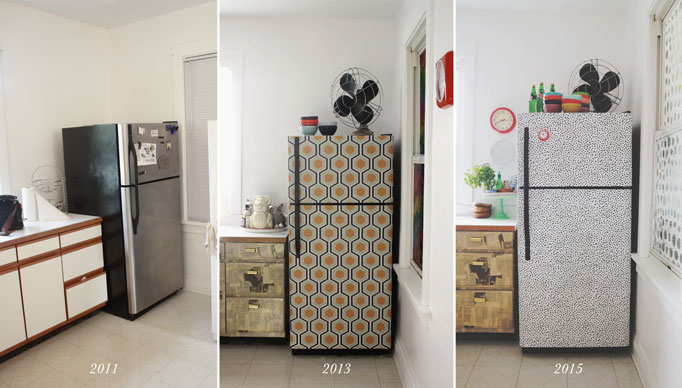 I wallpapered the fridge again aunt peaches for Papel adhesivo para muebles ikea