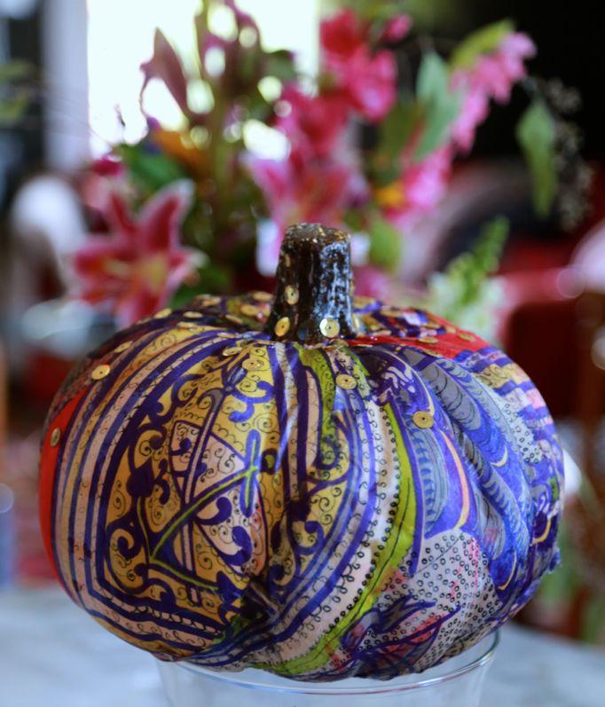 decopage scarf pumpkin