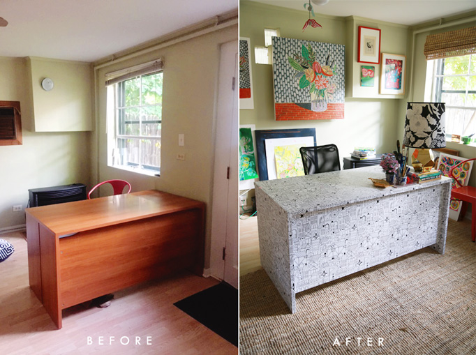 wallpapered desk chasing paper lisa congdon before after cover desk