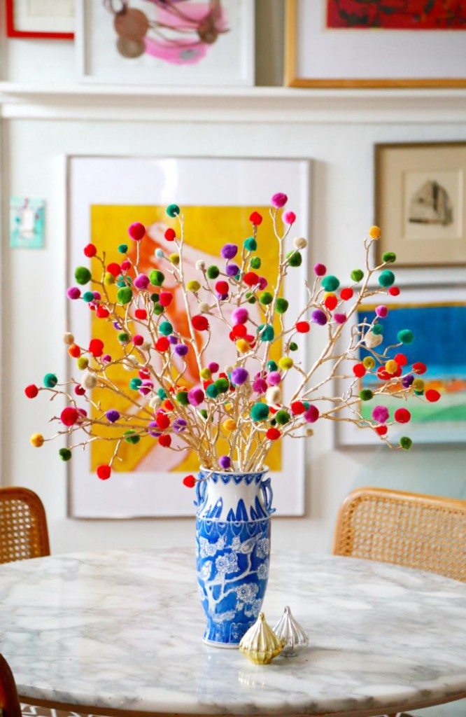 DIY pompom branches christmas accent craft
