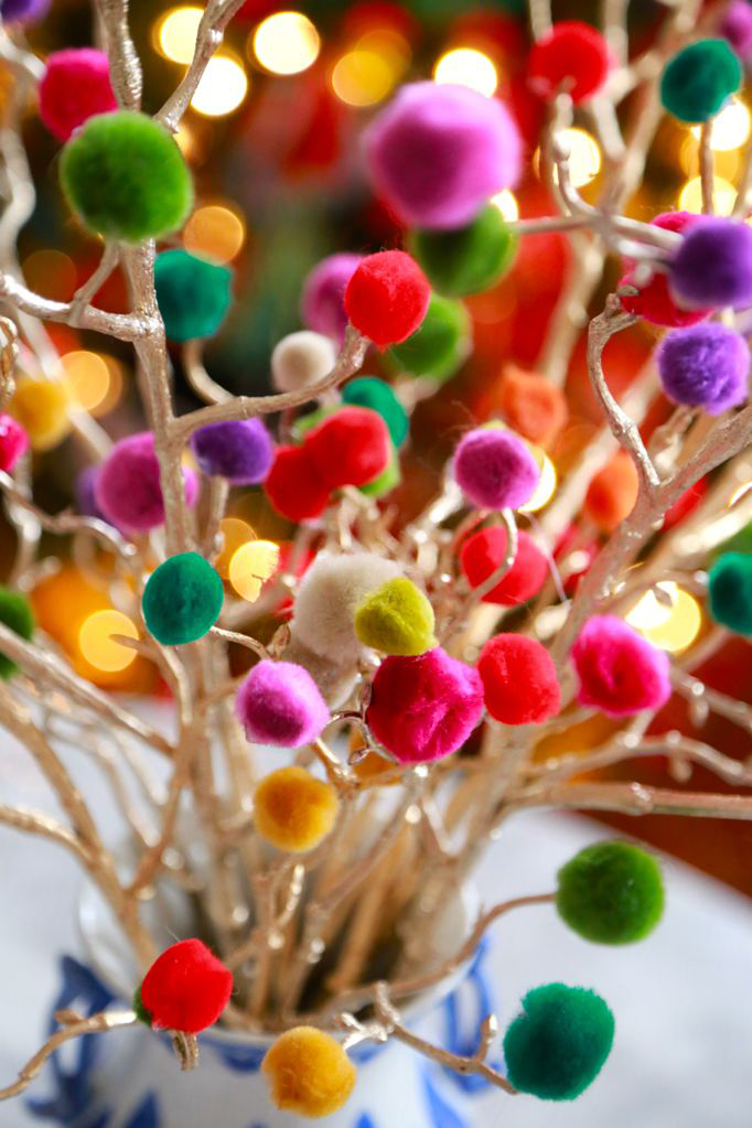 christmas craft pom pom christmas branches DIY