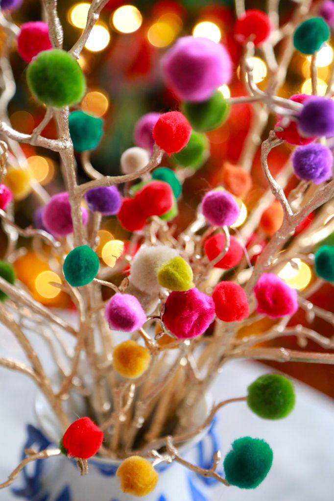 christmas craft pom pom christmas branches DIY