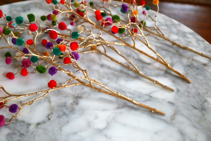 pompom branches craft christmas