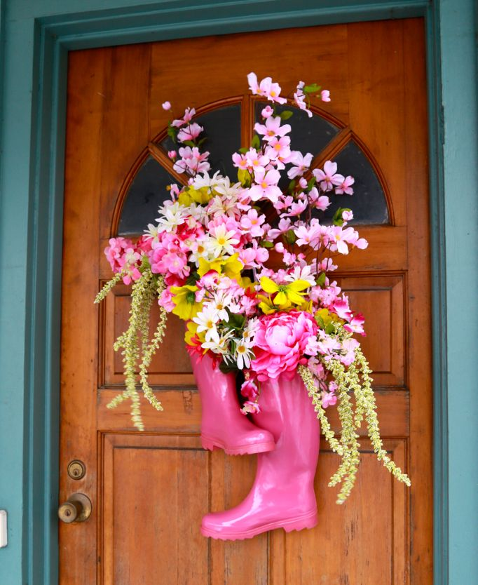 flowers in pink boots baby shower wreath