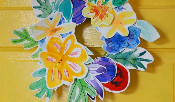 watercolor flower wreath