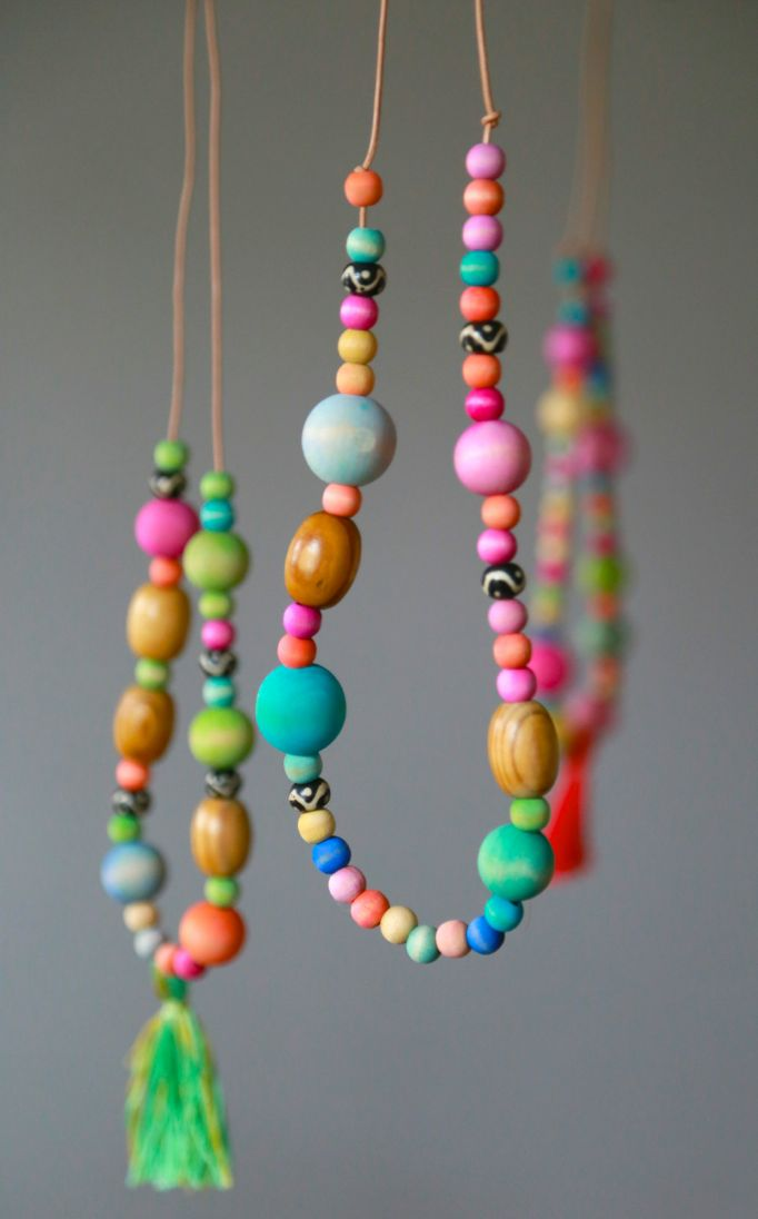 Watercolor Wooden Bead Necklaces Aunt Peaches
